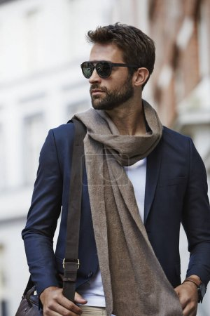 Man in scarf and sunglasses