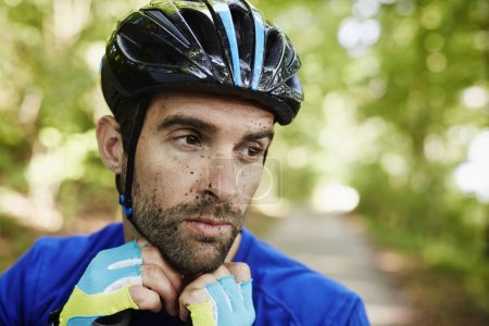 Cyclist with dirty face