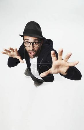 Bearded hipster man gesturing