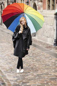 Beautiful woman under umbrella