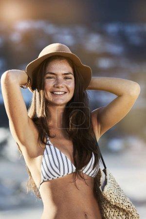 Smiling beautiful woman in bikini