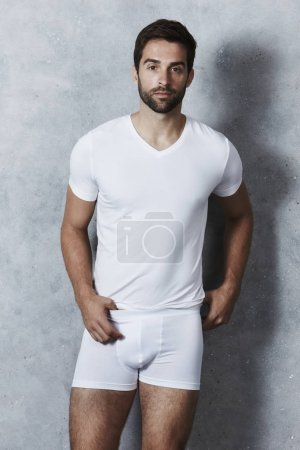 Handsome man in white underwear