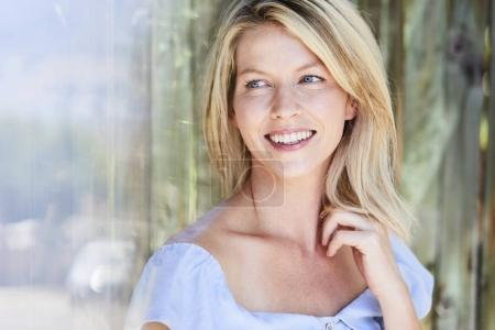 woman with blue eyes smiling