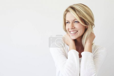 Happy woman posing for camera