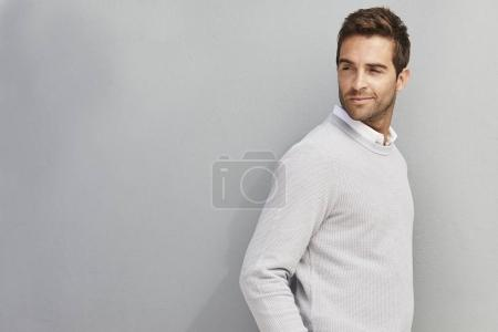 Handsome dude in grey sweater