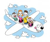 Family of four going on a trip traveling by airplane