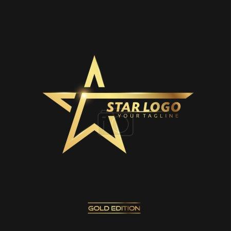 Photo pour Logo Gold Star avec modèle vectoriel d'inscription sur fond noir - image libre de droit