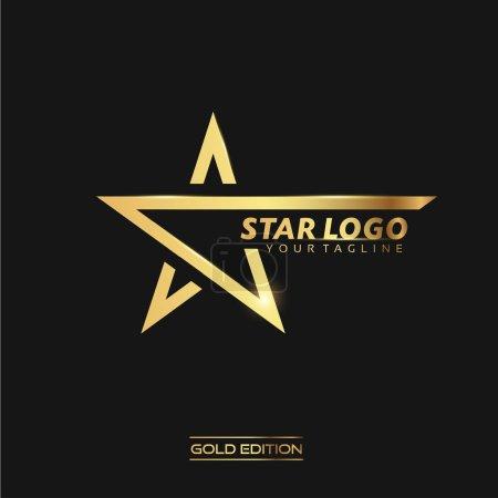Photo pour Logo de Star or avec modèle vecteur inscription sur fond noir - image libre de droit