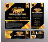 Gold Premium Party Invitation Card Golden Ticket and Gift Voucher Design Template Vector Illustration