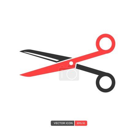 Illustration pour Ciseaux Icône vectorielle plate - image libre de droit