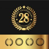 Golden Laurel Wreath Anniversary Badge 28 Years Anniversary Vector Illustration