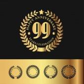Golden Laurel Wreath Anniversary Badge 99 Years Anniversary Vector Illustration