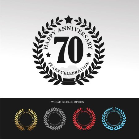 Black Laurel wreath 70 Anniversary