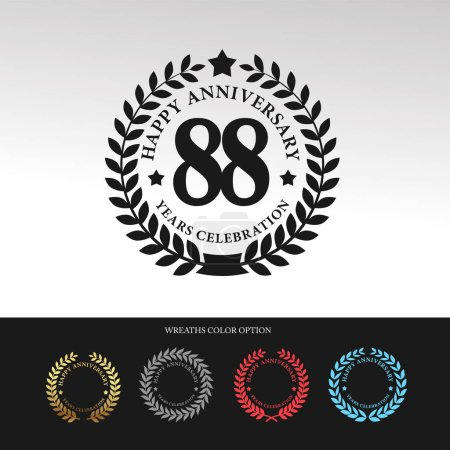 Black Laurel wreath 88 Anniversary