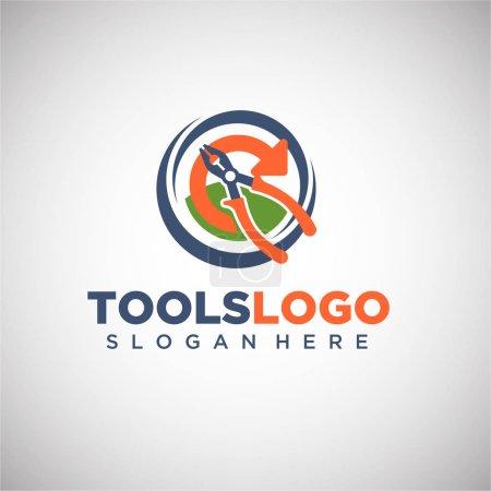 Illustration pour Logo cercle avec pinces, illustration vectorielle - image libre de droit