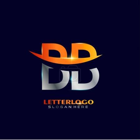 Illustration pour Logo lettre graphique BB sur fond noir, illustration vectorielle - image libre de droit