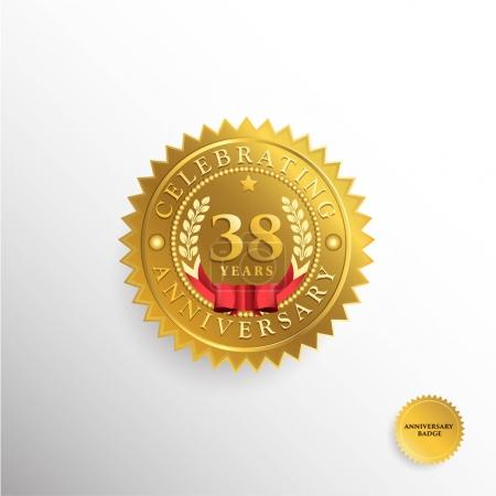 38  Years anniversary golden badge logo