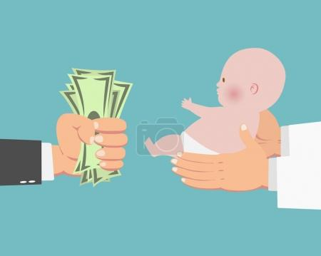 Illustration for Hand of businessman with money and a baby in doctor's hands - Royalty Free Image