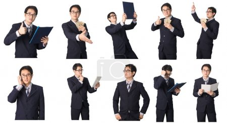 Set of Asian businessman in various poses isolated on white