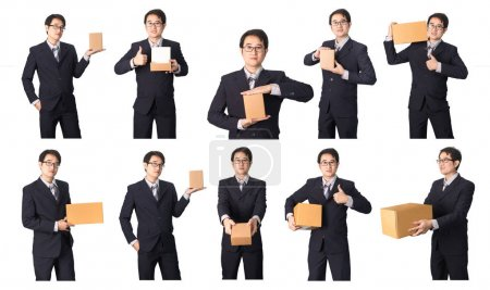 Set of Asian businessman with product package in hands isolated