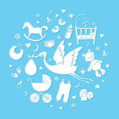 Set of hand drawn elements Baby boy stuff Collection of vector cute icons