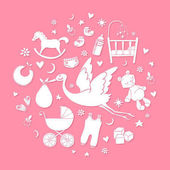 Set of hand drawn elements Baby girl stuff Collection of vector cute icons