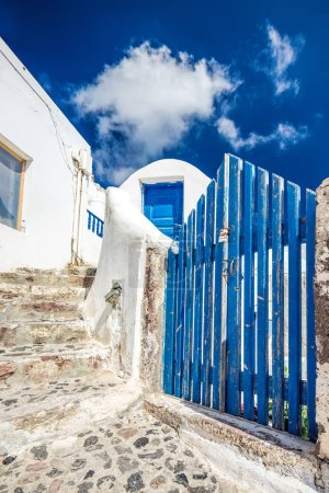Blue fence Santorini
