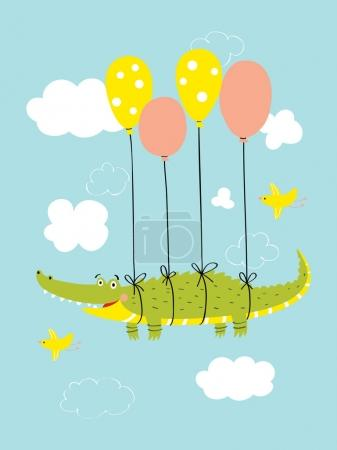 Photo for Cute crocodile flies in the sky on balloons. Vector illustration for postcards, prints, posters, designs, stickers. - Royalty Free Image