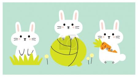 Photo for Cute rabbits with vegetables. Vector illustration. - Royalty Free Image