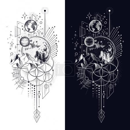 Photo pour Illustration vectorielle des phases de lune. Différentes étapes de l'activité au clair de lune dans le style de gravure vintage - image libre de droit