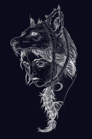 Illustration for Wailing wolf, a mountain landscape, a forest, a night and a moon. portrait of deer engraving and polygon style. constellation and sun. vintage retro style, sketch for print on clothes - Royalty Free Image
