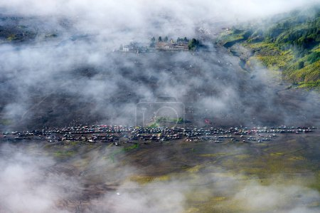Jeep in bromo. (Top view) indonesia.