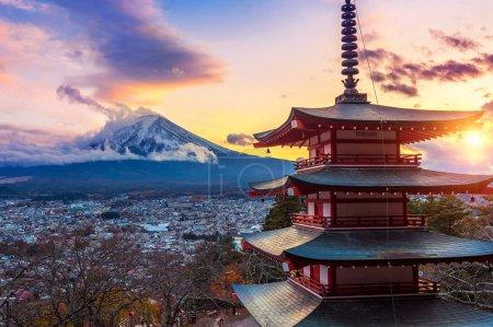 Beautiful landmark of Fuji mountain and Chureito Pagoda at sunset, Japan.