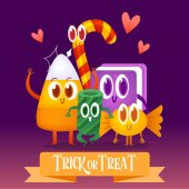 Set cartoon candies for Halloween