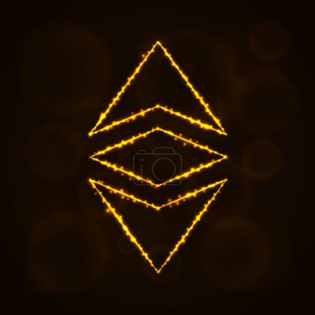 Ethereum classic currency silhouette of lights.