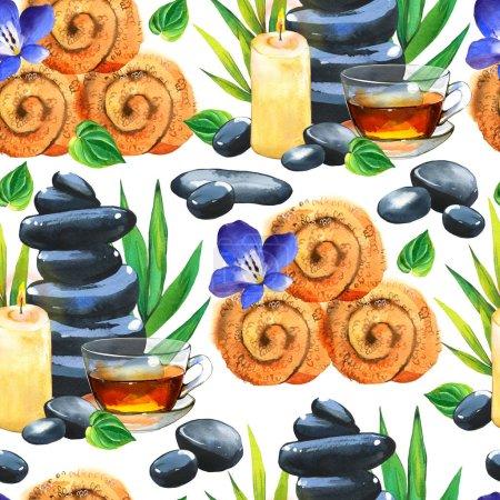 Photo pour Aquarelle SPA motif sans couture. Illustrations avec une variété de moyens pour le corps et le visage : serviette, fleur, pierres, thé, feuilles de bambou, bougie. Cosmétiques pour femme. Détente dans le salon - image libre de droit