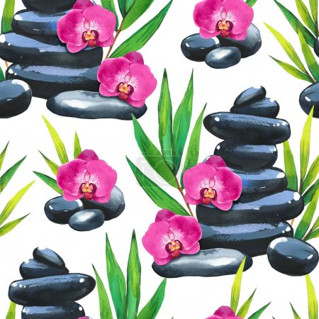 Photo pour SPA watercolor seamless pattern. Illustrations with a variety of means for body and face: flower, stones, orchid, bamboo branch with leaves. Cosmetics for woman. Relaxation in salon - image libre de droit