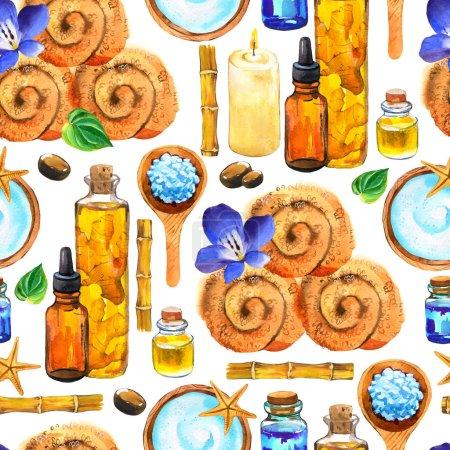 Photo pour Aquarelle SPA motif sans couture. Illustrations avec une variété de moyens pour le corps et le visage : serviette, huile, crème, feuille, crème de massage, cuillère à sel, bambou. Cosmétiques pour femme. Détente dans le salon - image libre de droit