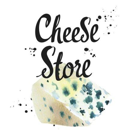 Aquarell-Illustrationen mit edlem Käse: blau, roquefort. Imbiss. Milchprodukte aus landwirtschaftlichen Betrieben. Frische Bio-Lebensmittel.