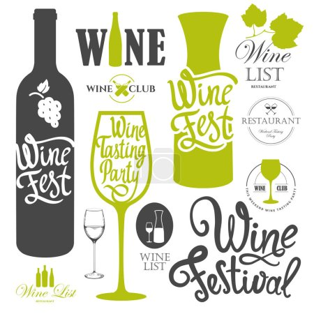 Vector illustration with labels, bottle, glass sketch style. Alcoholic beverages set. Wine festival. Brush calligraphy elements for your design. Handwritten ink lettering.