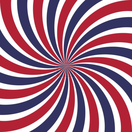Twisted blue, red and white lines