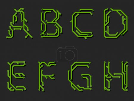 Alphabet on circuit board