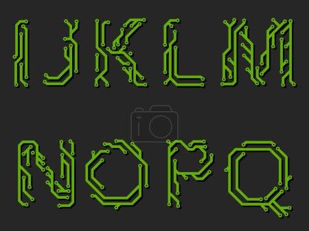 Alphabet on circuit board