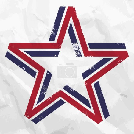 Illustration for Five pointed star made from blue and red lines - Royalty Free Image