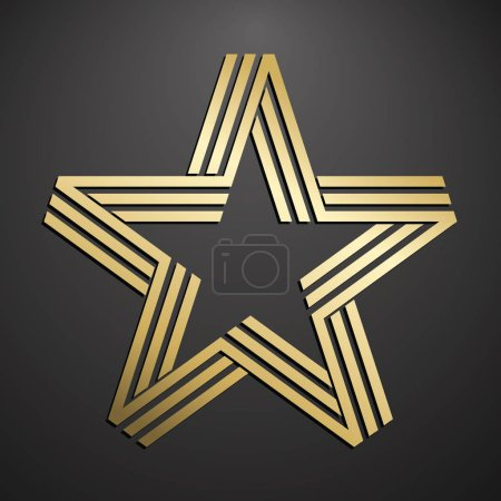 Golden five pointed star