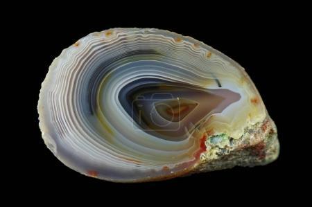 Concentric agate. Multicolored silica bands colore...