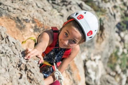 Girl training Rock climbing