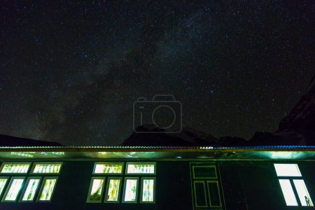 Mountain Lodge at Night Sky