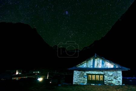 Mountain Lodge at Night Sky