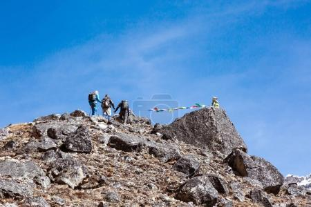 Mountain Climbers Team walking up